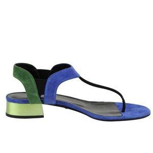GUCCI Liberty Suede Colour-block Flat Sandals